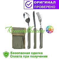 Набор: ложка, вилка, нож Mil-Tec олива / складной с чехлом  (14626000)