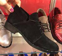 Туфли женские замшевые на шнурках черные