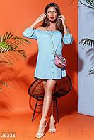 Летнее платье свободного кроя мини спереди пуговицы голубое