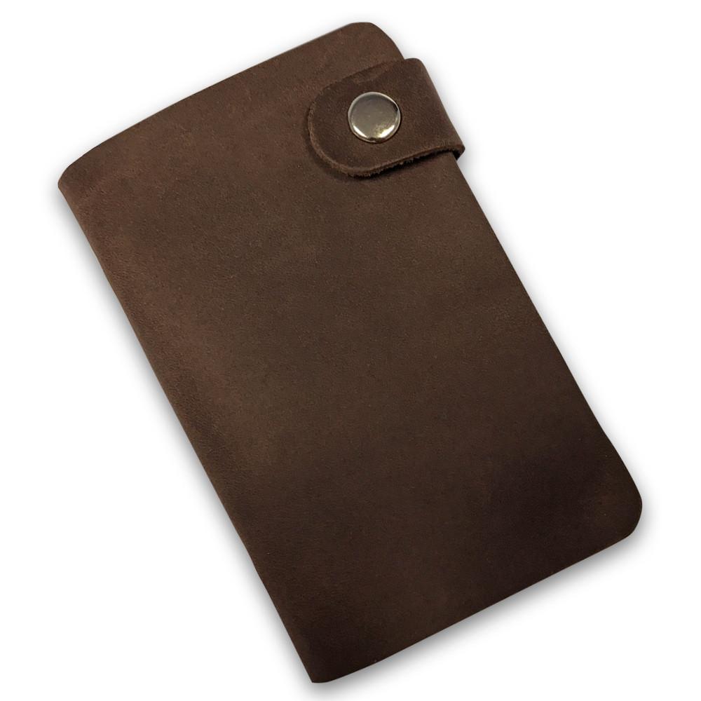 Кожаная кредитница на кнопке коричневая крафт 20 карт