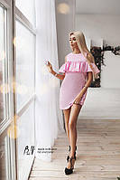 Женское летнее короткое платье с открытыми плечами с воланом на груди .TM B&H, фото 1