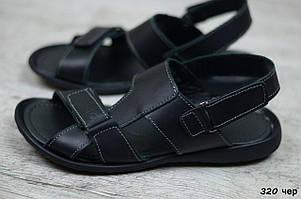 Мужские кожаные сандалии Cardio черного цвета