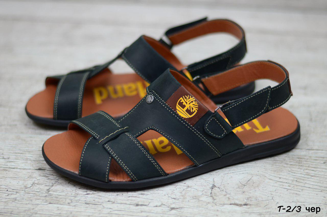 Мужские кожаные сандалии Timberland черные (реплика)