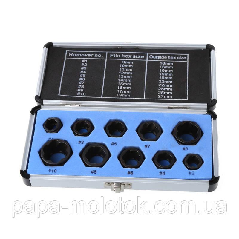 Набор экстракторов для поврежденных болтов/гаек 9-19 мм.