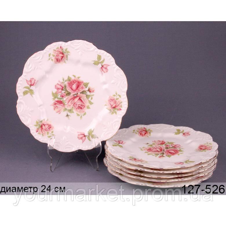 Набор тарелок Lefard Розы 6 шт 24 см 127-526