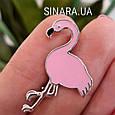 Серебряная брошь Розовый Фламинго - Фламинго брошь серебро, фото 3