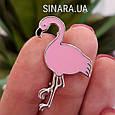 Серебряная брошь Розовый Фламинго - Фламинго брошь серебро, фото 2
