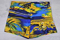 """Плавки-шортики мужские """"Пальмы"""" #Y004. Размеры 48-56. Синие с желтым. Оптом."""