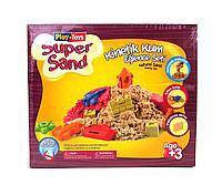 Play-Toys Кинетический песок 500 гр. с инструментами и песочницей (в ассортименте)