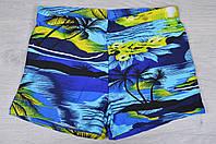 """Плавки-шортики мужские """"Пальмы"""" #Y004. Размеры 48-56. Синие с голубым. Оптом."""