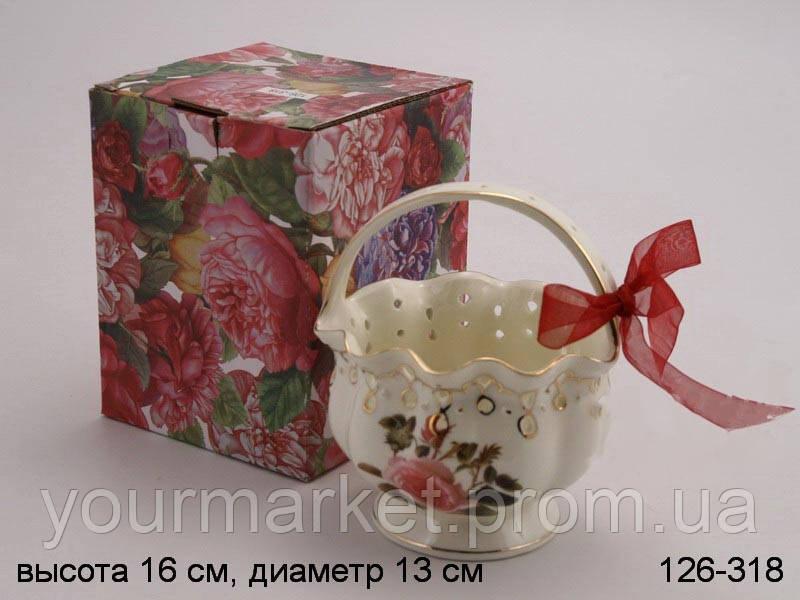 Конфетница Lefard с ручкой Розы 15 см 126-318