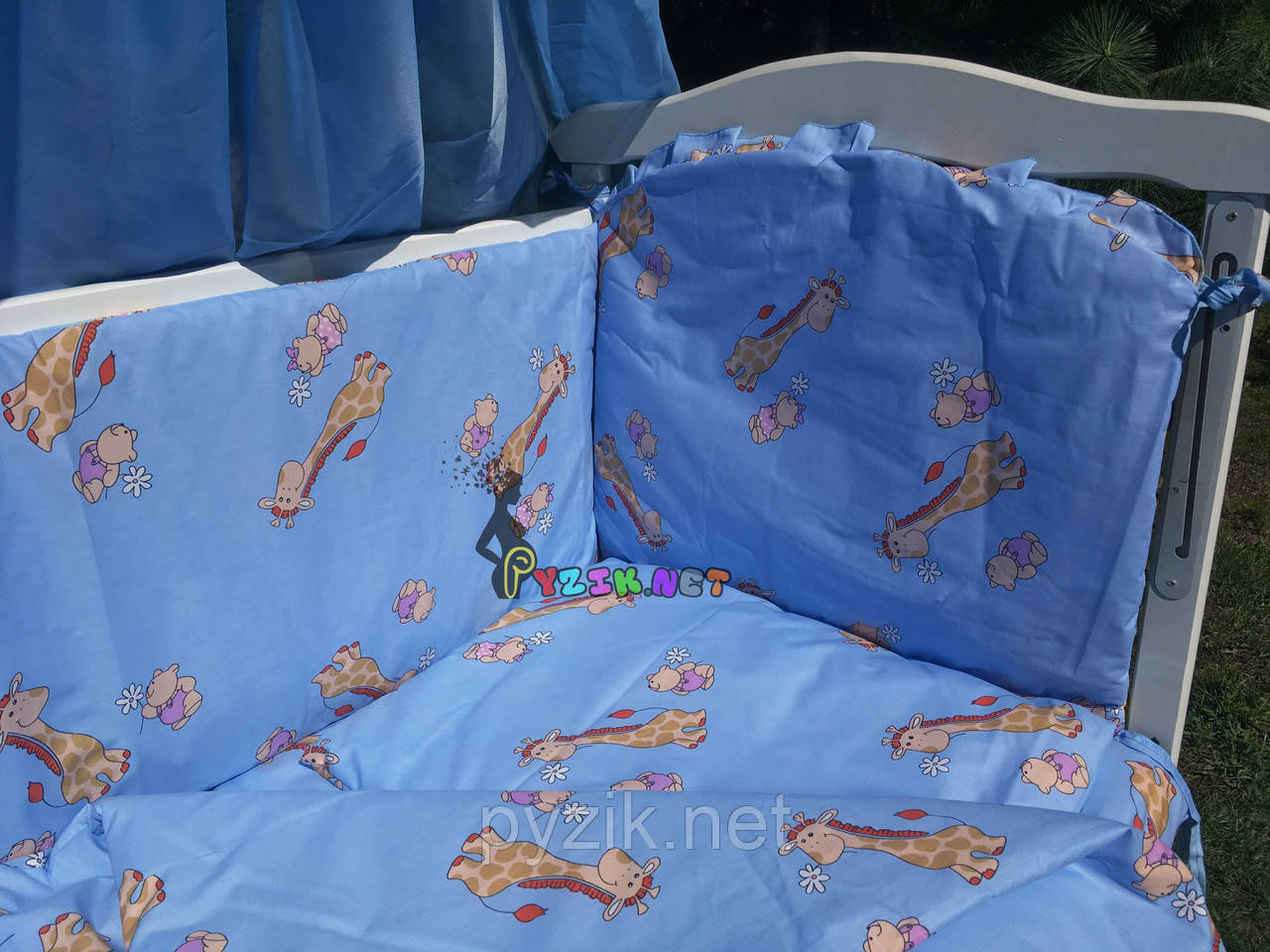 """Постельный набор в детскую кроватку (8 предметов) Premium """"Жирафы"""" синий"""