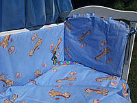 """Постельный набор в детскую кроватку (8 предметов) Premium """"Жирафы"""" синий, фото 1"""