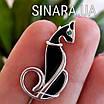 Брошь Кошка серебро - Серебряная брошь Изящная кошка, фото 2