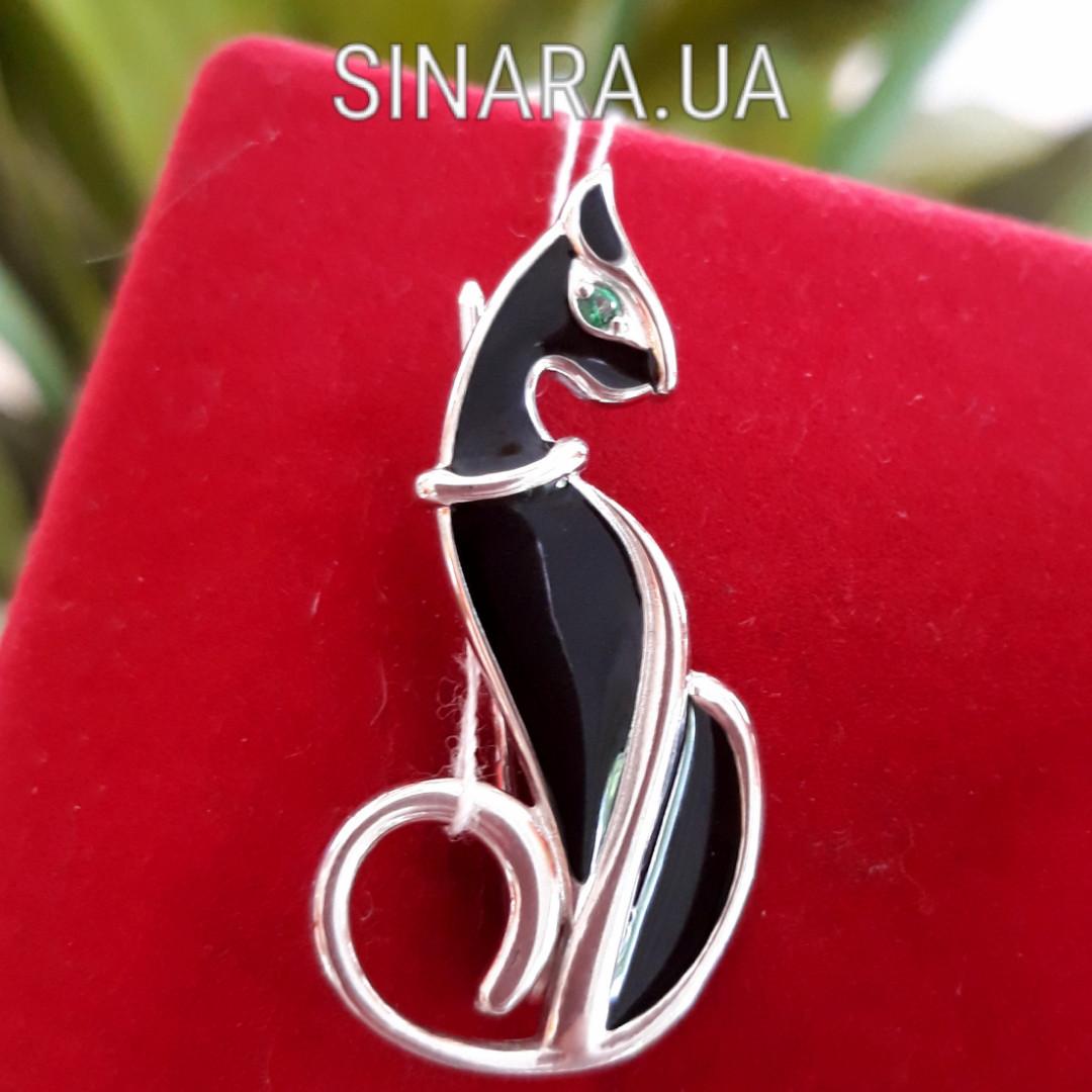 Брошь Кошка серебро - Серебряная брошь Изящная кошка