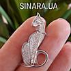 Брошь Кошка серебро - Серебряная брошь Изящная кошка, фото 3