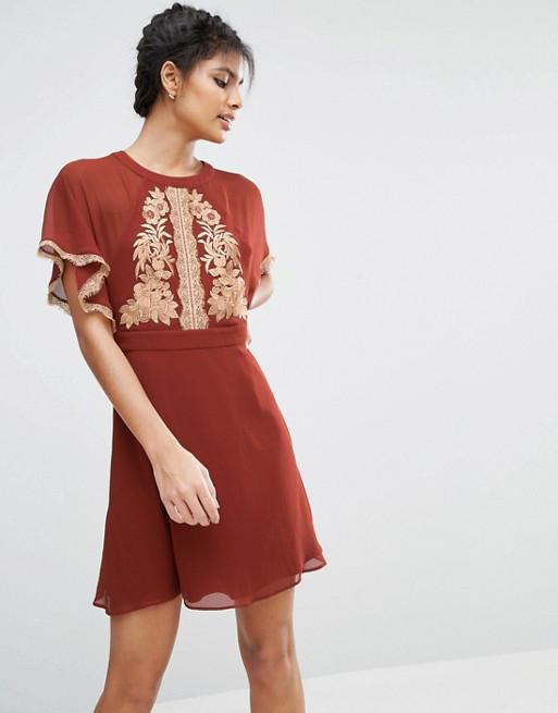 Платье вечернее бордовое ASOS Emboroidered Skater Rus, фото 1