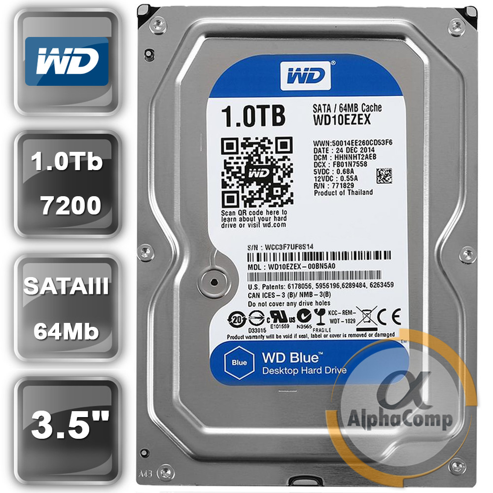 "Жесткий диск 3.5"" 1Tb WD WD10EZEX (64Mb/7200/SATAIII) blue БУ"