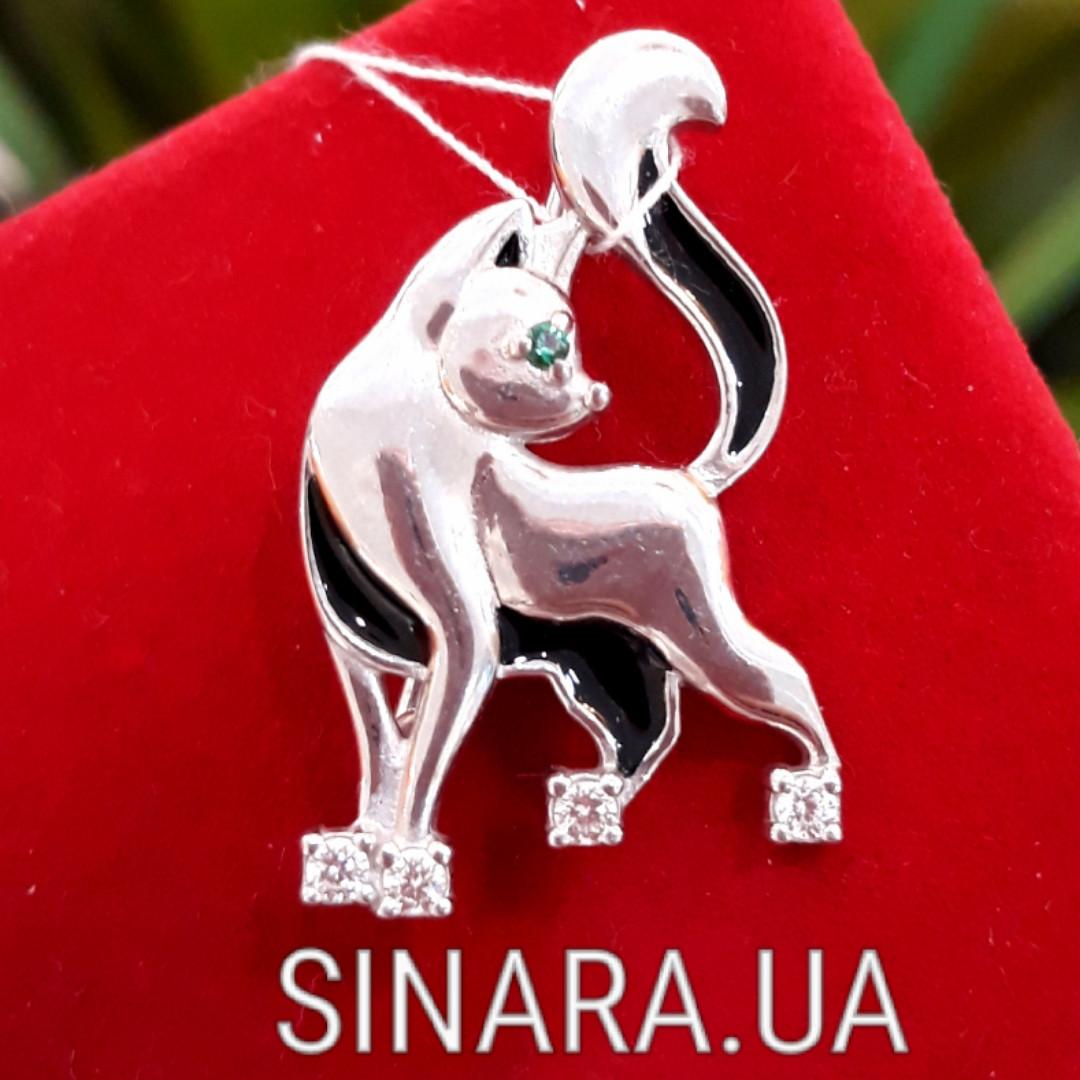 Серебряная брошка Котик  - Котенок брошь серебро