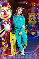 Велюровый спортивный костюм для девочки бирюзовый