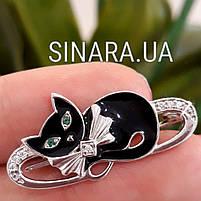 Брошь Кошка с зелеными глазами - Брошь Кот серебро 925, фото 3