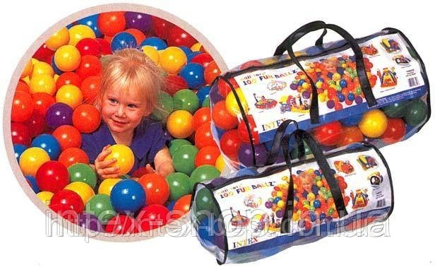 Набор шариков-мячиков для игровых центров Fun Ballz Intex 49600 (диаметр 8 см. ), фото 2