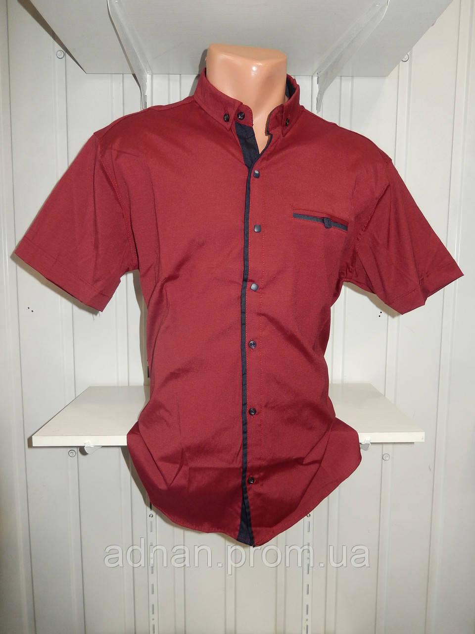 Рубашка мужская  CROM стрейч, полу-батал заклепки однотонная 002 \ купить рубашку оптом.