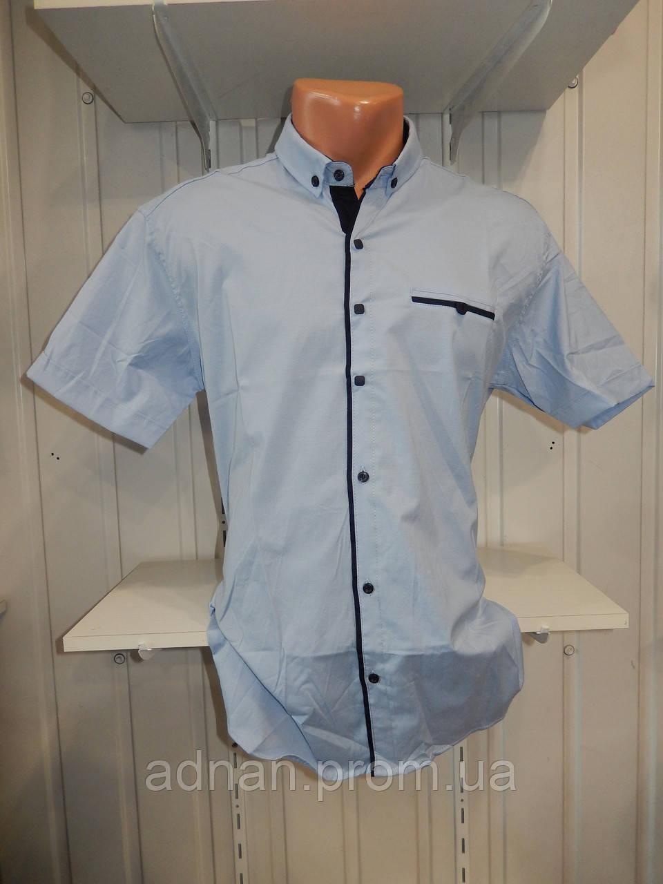 Рубашка мужская  CROM стрейч, полу-батал заклепки однотонная 003 \ купить рубашку оптом.