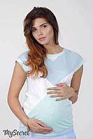 Ультрамодная футболка для беременных и кормящих DUO, голубая 1, фото 1