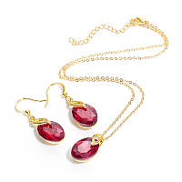 Набор бижутерии CWEEL цепочка подвеска серьги с камнями красного цвета