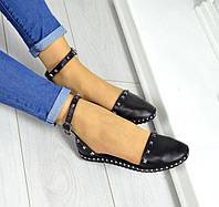 Босоножки женские кожаные/замшевые без каблука черные TOPs0020
