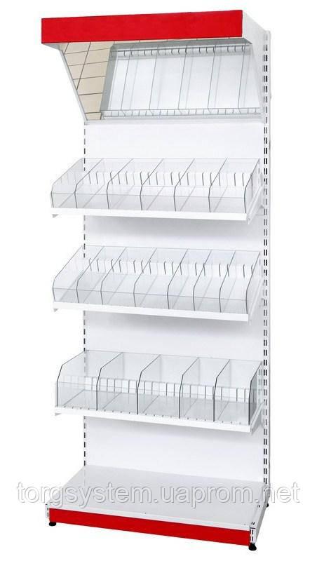 Торговый металлический стеллаж кондитерский 2350х950х530 (без стекла)