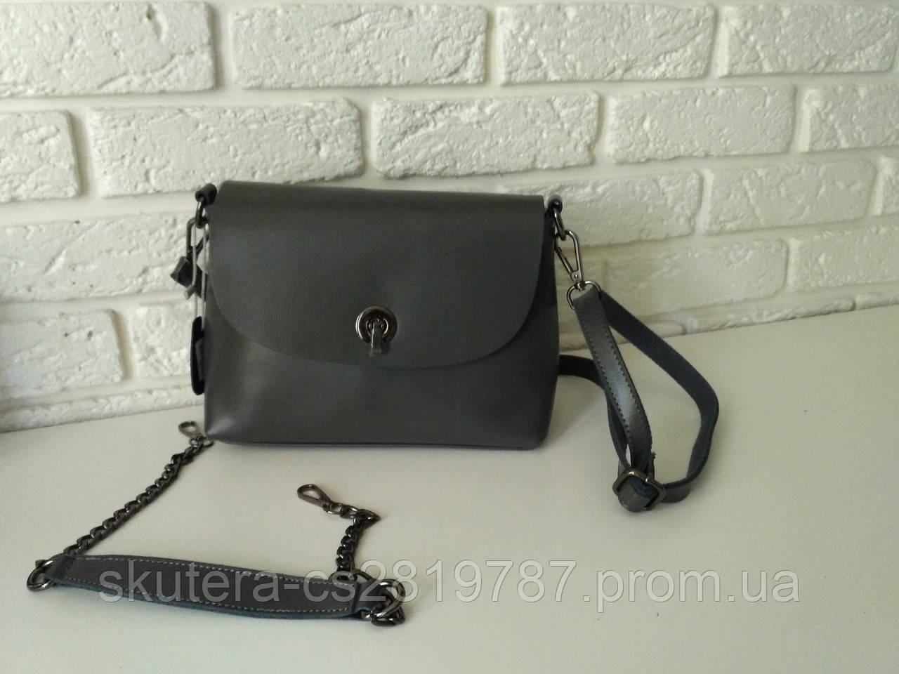 """Женская кожаная сумка """"Ненси  Gray"""", фото 1"""