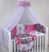 """Комплект в детскую кроватку """"Феи"""" серо-розовый, для девочки, фото 1"""