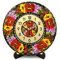 Часы. Букет с мальвой. Украинский сувенир. Петриковская роспись., фото 1