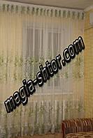 Тюль зеленая вышивка. Шифон, фото 1