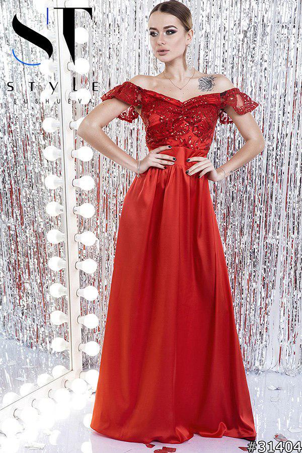 Вечернее платье в пол Глория красный 42-46 р