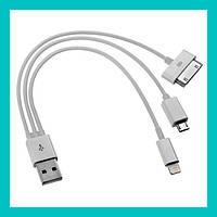 Зарядное устройство 3в1 (старый) USB на iPhone, Ipod, micro-usb