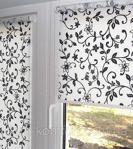 Рулонные шторы с цветочным принтом