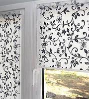 Ролеты тканевые (рулонные шторы) открытого типа ткань цветочная
