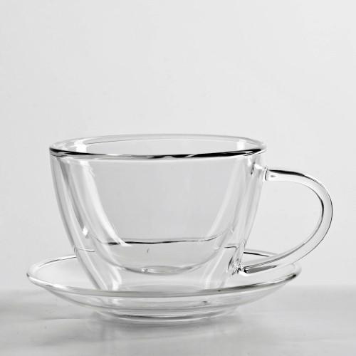 Чашка с блюдцем для чая и кофе с двойными стенками  (двойное дно)