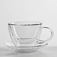 Чашка с блюдцем для чая и кофе с двойными стенками  (двойное дно), фото 1