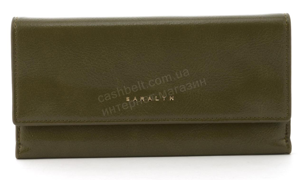 Прочный многофункциональный женский прочный кошелекэко кожиSARALYN art. J-1206 оливковый