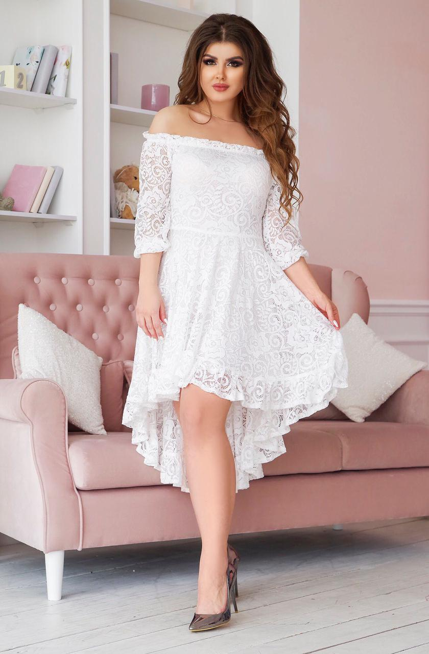 Платье из гипюра Келли белый 48-54 р