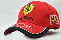 Кепка автогонщика ferrari, стильный аксессуар для любителей автогонок, черная / красная, регулируемый размер, фото 1