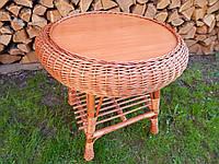 Журнальний плетений стіл 50 см в діаметрі, фото 1