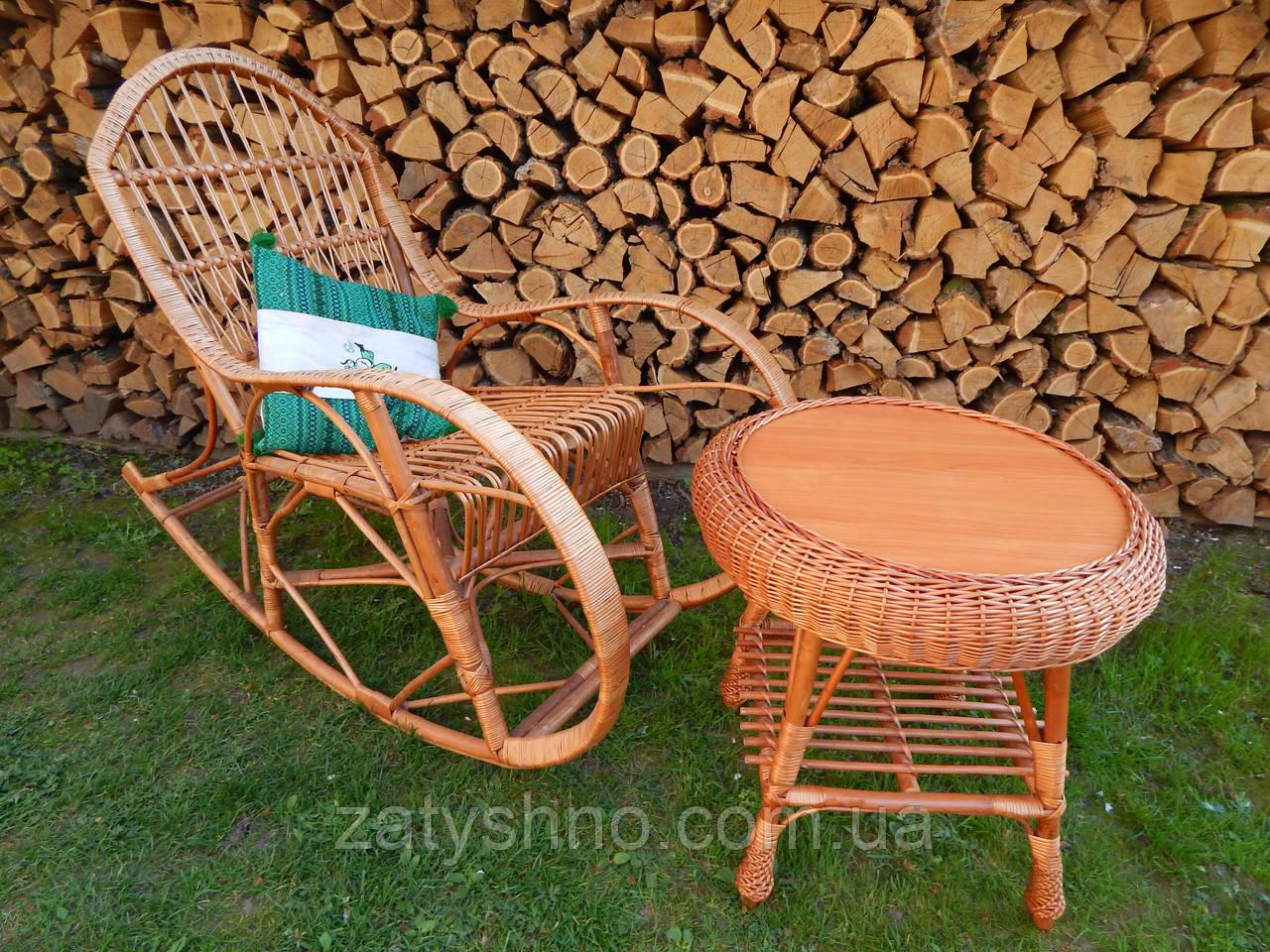 Кресло качалка плетеная с кофейным столом, фото 1