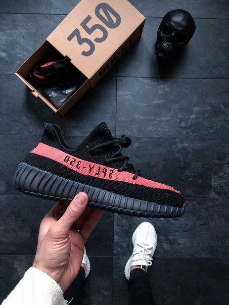 2e72d09370b7 Мужские Кроссовки Adidas Yeezy Boost 350 V2 Bred Red Black Реплика ААА+ -  Магазин обуви