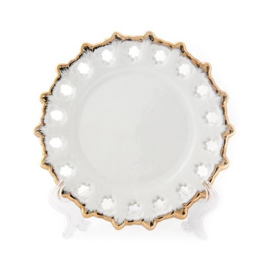 Тарелка сувенирная с золотой каймой,160 мм.