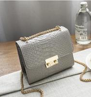 """Женский клатч, сумочка на длинной цепочке """"Кокетка Gray"""", фото 1"""